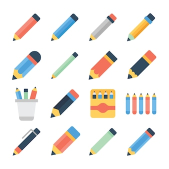 Pencil set flat icons pack