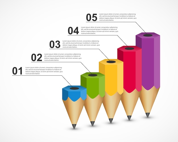 Pencil shaped infographic concept