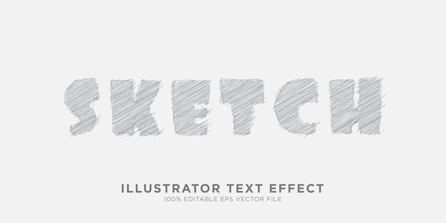 Pencil sketch text effect design style effect