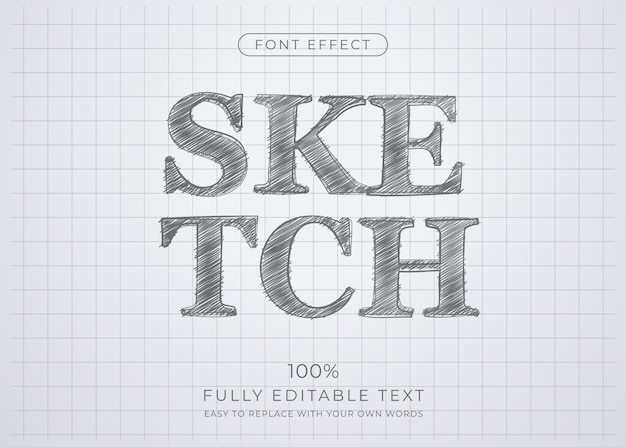 Pencil sketch text effect. editable font style