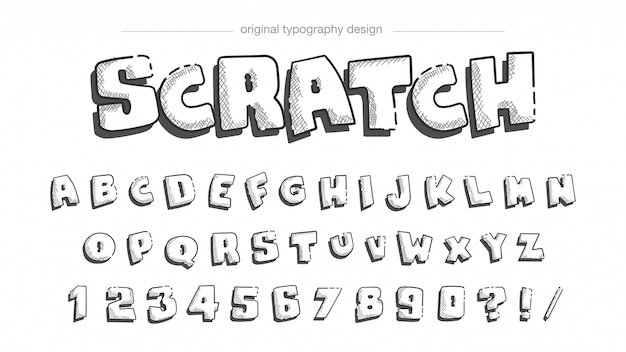 Pencil sketching typography design