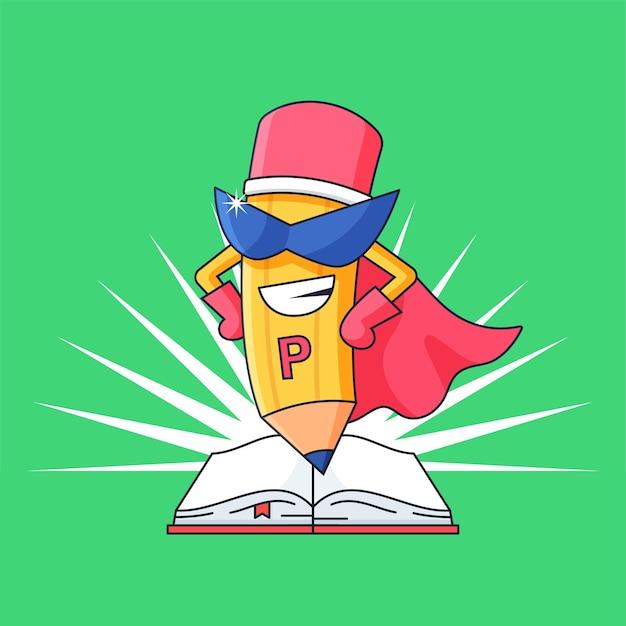 유치원 정신 학습 디자인을 위한 열린 책 벡터 삽화가 있는 연필 슈퍼 영웅 마스코트