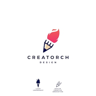 Pencil torch fire light logo vector icon illustration