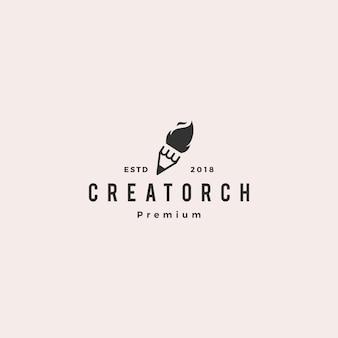 Pencil torch fire light logo vector illustration