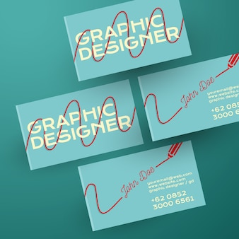 Pencil trail on business card template