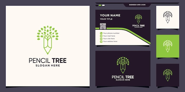 Pencil and tree logo with line art style and business card design premium vector