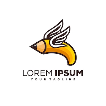 Pencil wing creative logo design