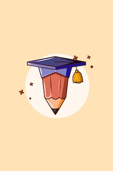 Pencil with gown icon cartoon illustration