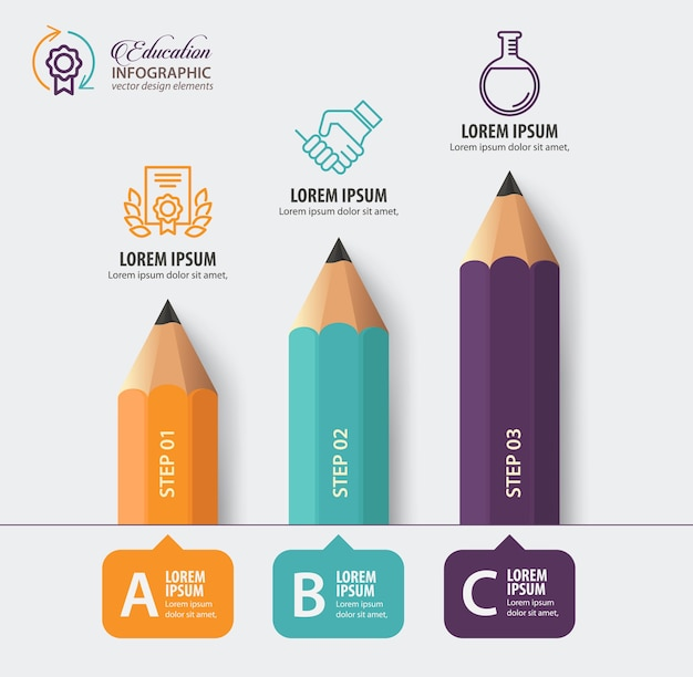 Pencil with icons for education concept
