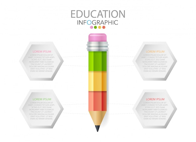 Pencil with icons and text, education infographics, workflow, process