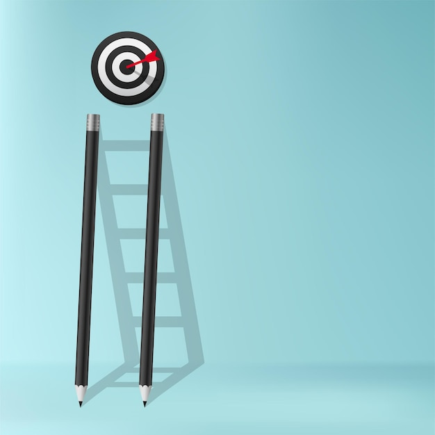 Pencil with ladder shadow of success concept, stair of business challenge to be achievement the goal