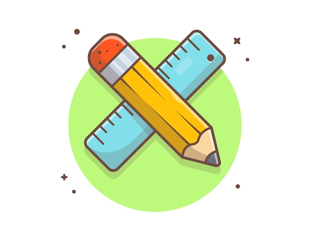 Pencil with ruler  icon illustration