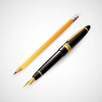 鉛筆とペン。図