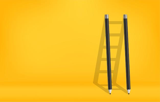 Карандаши с тенью лестницы фона, лестница вызова для достижения концепции успеха в бизнесе
