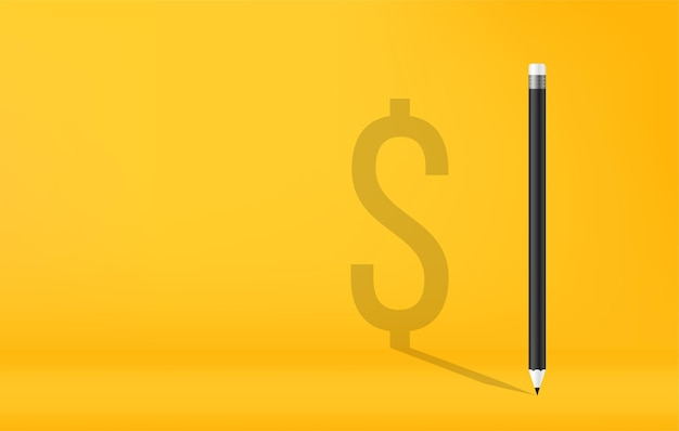 Карандаши с тенью символа валюты доллар сша на желтом фоне