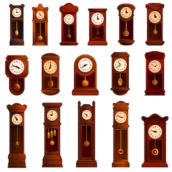 Pendulum clock set, cartoon style