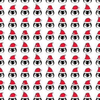 펭귄 원활한 패턴 크리스마스 산타 클로스 만화