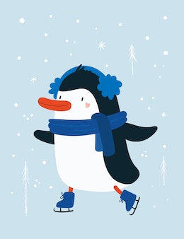 Penguin baby animal with snowflakes