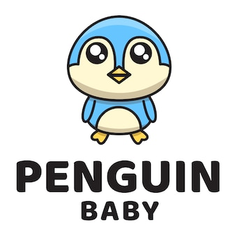 Penguin baby cute logo template