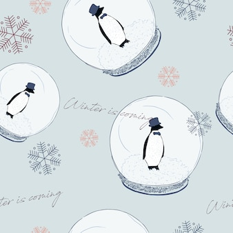 Penguin in ball, winter concept. seamless pattern vector.
