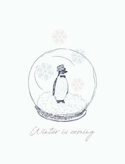 Penguin in ball, winter concept.