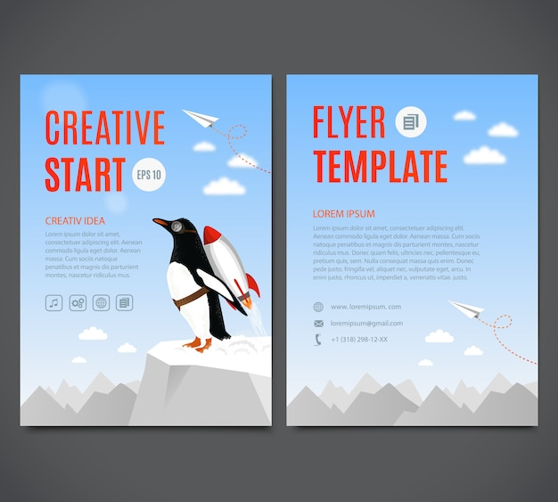 Penguin begins to take off with the help of rocket. creative start and creative idea concept