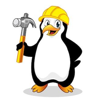 Мультфильм пингвин buider талисман в векторе