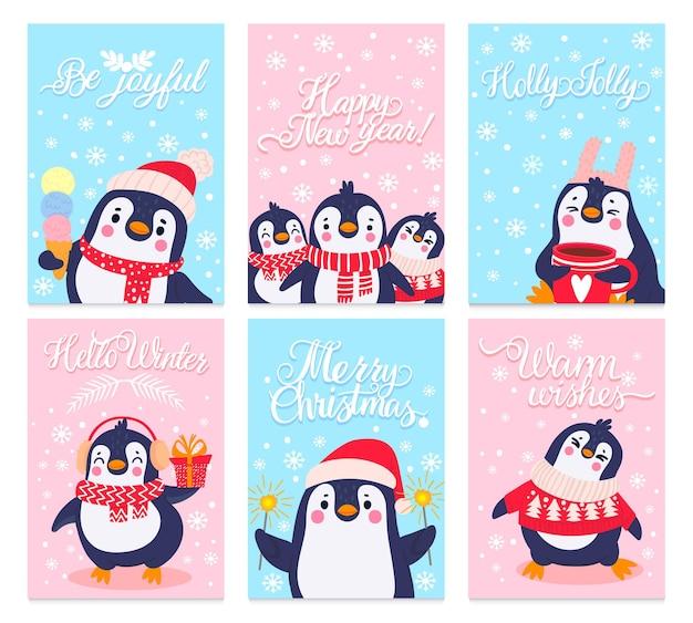 펭귄 카드. 겨울 옷과 모자에 북극 동물과 함께 메리 크리스마스 인사말 카드, 귀여운 펭귄 디자인 휴일 벡터 세트. 스웨터, 귀마개, 스카프를 입은 캐릭터가 아이스크림, 코코아를 들고 있다
