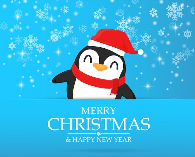 Penguin cartoon characters celebrate in christmas.