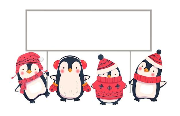 Пингвин мультфильм. пингвины держат знамя