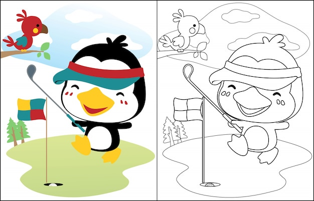 Penguin cartoon playing golf