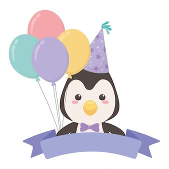 Penguin cartoon with happy birthday