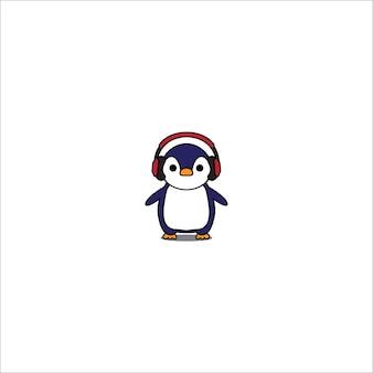 Penguin cartoon with red headphones icon