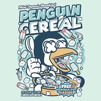 Penguin cereal box cartoon