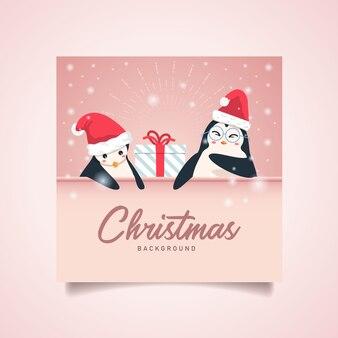 Penguin christmas background copyspace text.