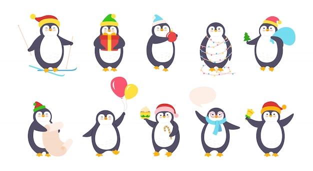 ペンギンクリスマス漫画セット。かわいいフラット手描きペンギンコレクション。新年は、サンタ帽子、風船、ガーランド、ギフトスキー、吹き出しで幸せな文字を笑顔します。孤立した図
