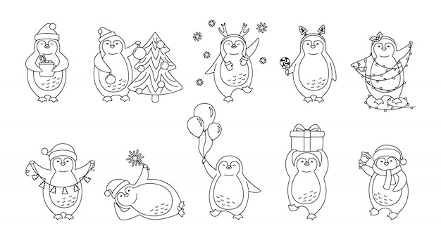 ペンギンクリスマス線形漫画セット。かわいいフラット手描きペンギンコレクション。幸せなキャラクターサンタ帽子や角、木、ガーランド、ギフトベル、カップをラインします。新年のクリスマス。孤立した図