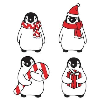 Penguin christmas santa claus hat cartoon character