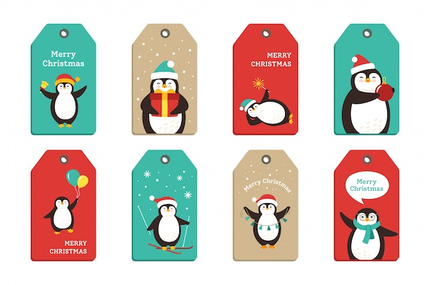 Penguin christmas sticker tags cartoon set. sweet label flat hand drawn penguins tags collection. smile happy new year character with santa hat garland, gift bell, cup. isolated illustration
