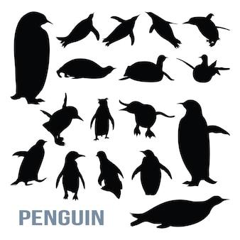 ペンギンかわいい隔離されたシルエットセット