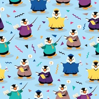 ペンギン教育かわいい漫画のシームレスなパターン