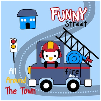 Penguin the fire fighter funny animal cartoon
