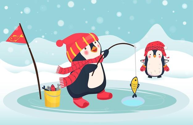 펭귄 어부가 물고기를 잡았습니다.