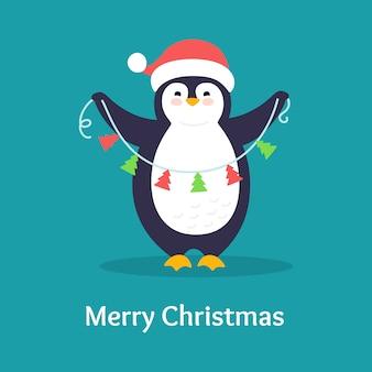 ペンギンフラットキャラクタークリスマスポストカード