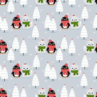Penguin and fox in christmas winter forest seamless pattern