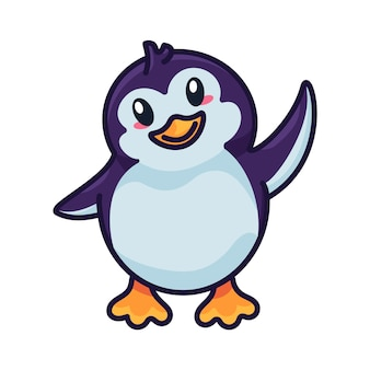 Penguin funny baby bird flapping with wing vector. happiness aquatic flightless north pole wild animal kid. positivity emotion beautiful chick welcome gesturing outline flat cartoon illustration