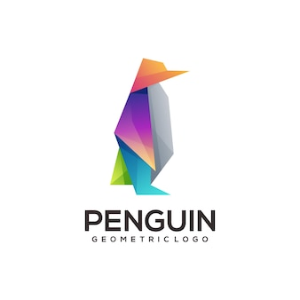 Penguin geometric logo colorful abstract