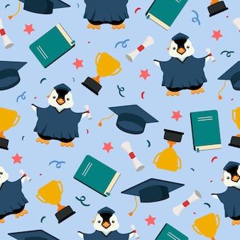 トロフィーと本とペンギン大学院かわいい漫画のシームレスなパターン