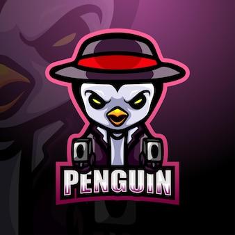 Penguin gunner mascot illustration