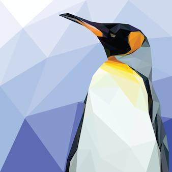 Penguin head low polygonal vector template